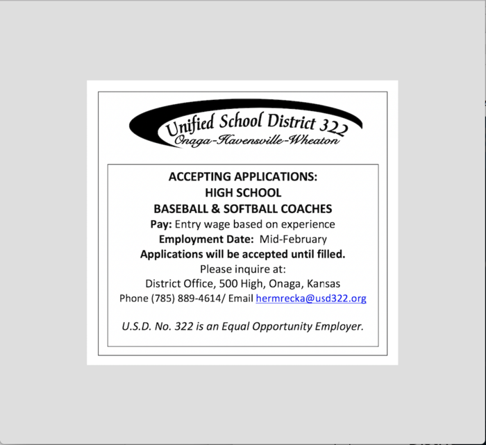Positions Open - Baseball & Softball Coaches