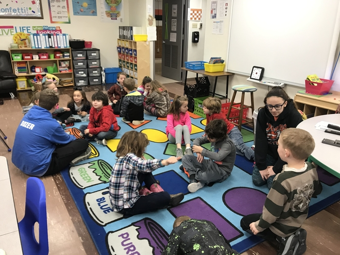 Mrs. Huerter's class discussing how they sharpened their saw over the weekend. Atalie Conger and Dylan Magnett, are great leaders in our school as they start out their day with Mrs. Huerter's first grade daily.