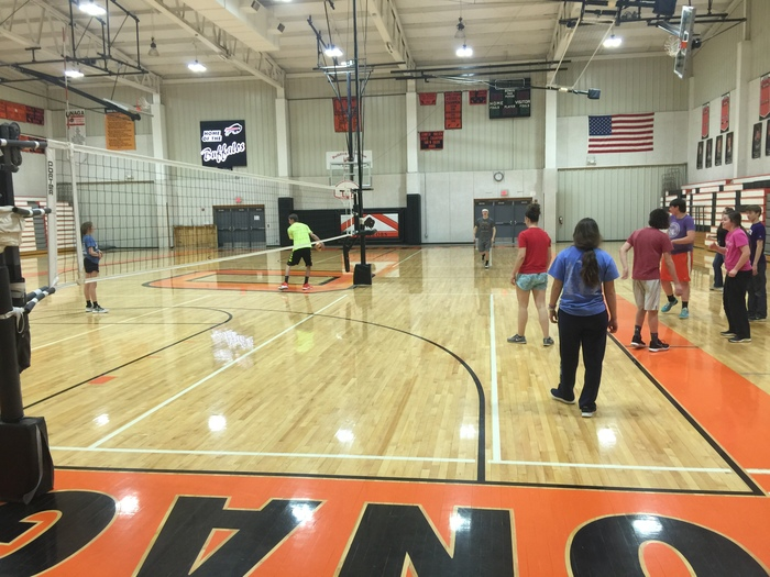 A game of vollyball in the north gym brings the students closer together.