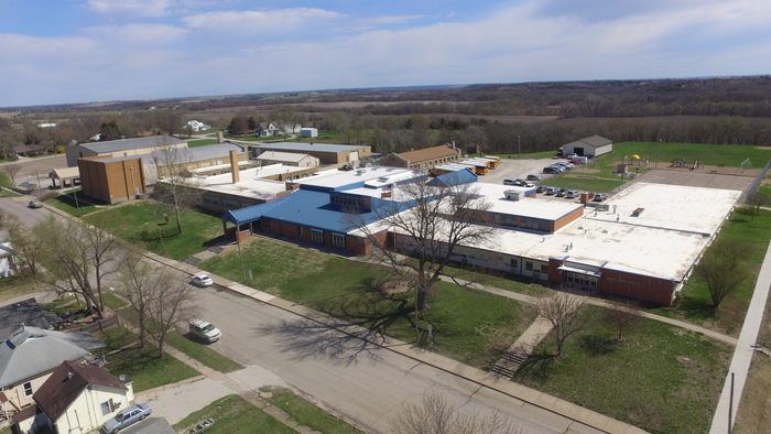 A picture taken from 100 ft above the southwest corner of the school.