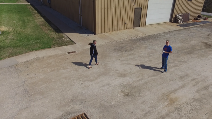 Our student drone does a high speed flyby capturing a quick shot of Seniors Ian Heit (Pilot) and Katelyn Vandonge