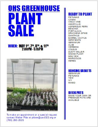 greenhouse sale flyer