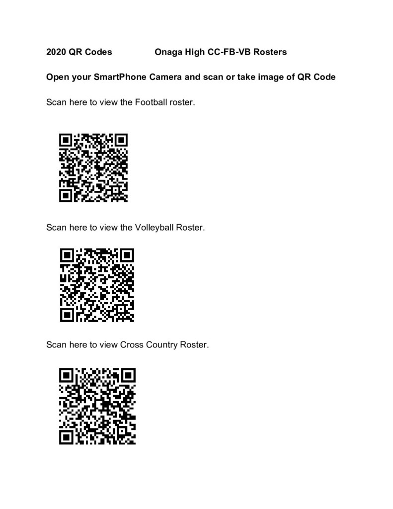 QR codes for FB VB and CC rosters